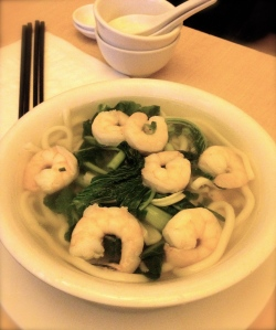 hand made noodles with prawn soup ($14.99)